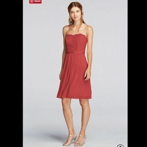 NWT DAVID'S BRIDAL Scalloped Strapless Dress. 24